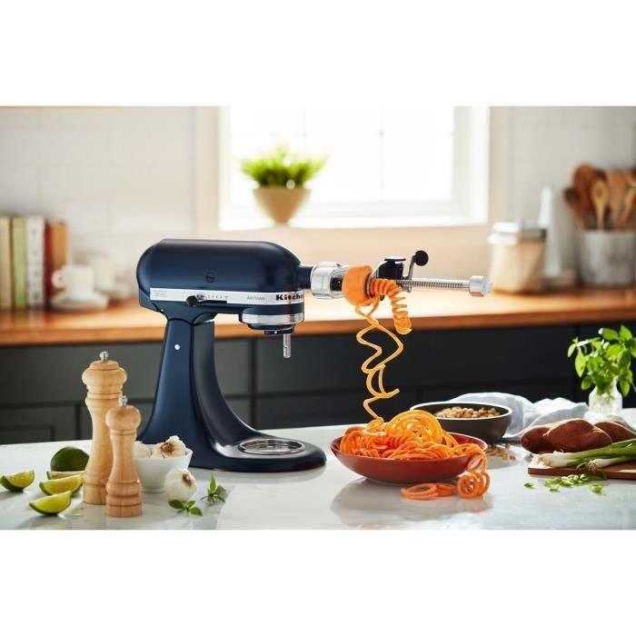 Robot pâtissier multifonction Kitchen Aid à tête inclinable 4,3L + Accessoire taille-légumes en spirales (peler, évider, trancher)