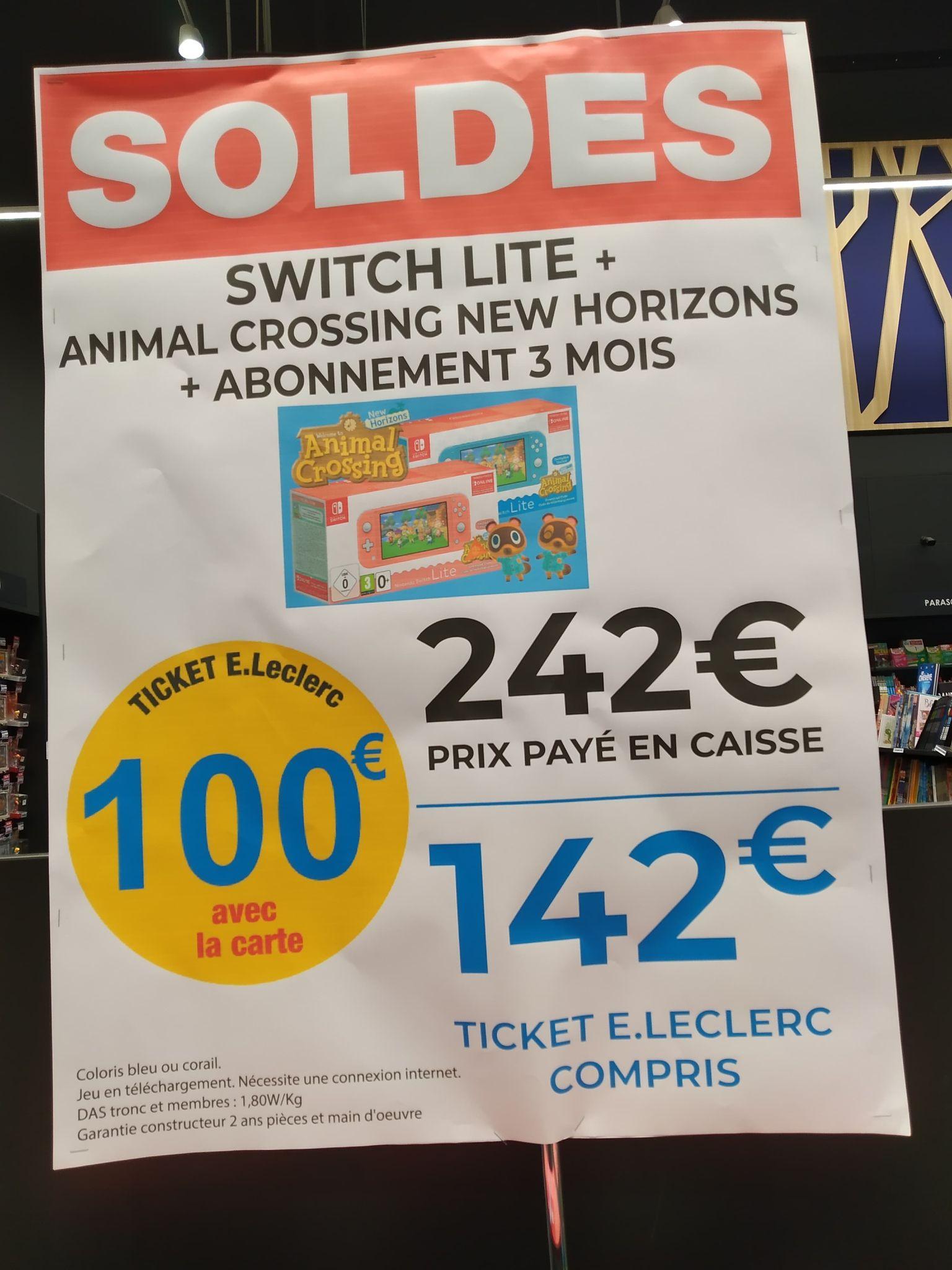 Console Nintendo Switch Lite + Animal Crossing New Horizons + Abonnement 3 mois (via 100€ sur la carte) - Bain de Bretagne (35)