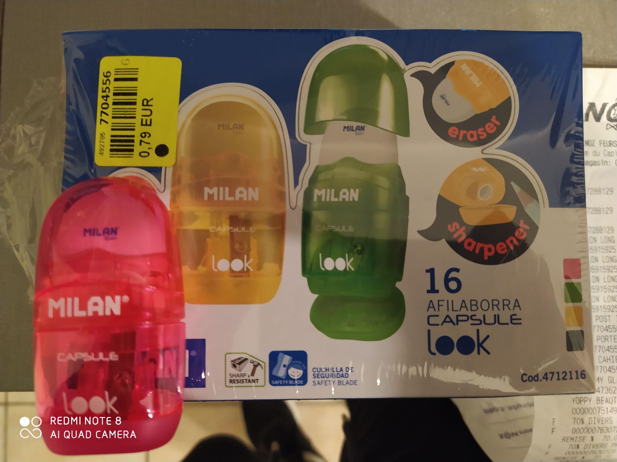 Lot de 16 Gommes taille crayon capsule Milan - Feurs (42)