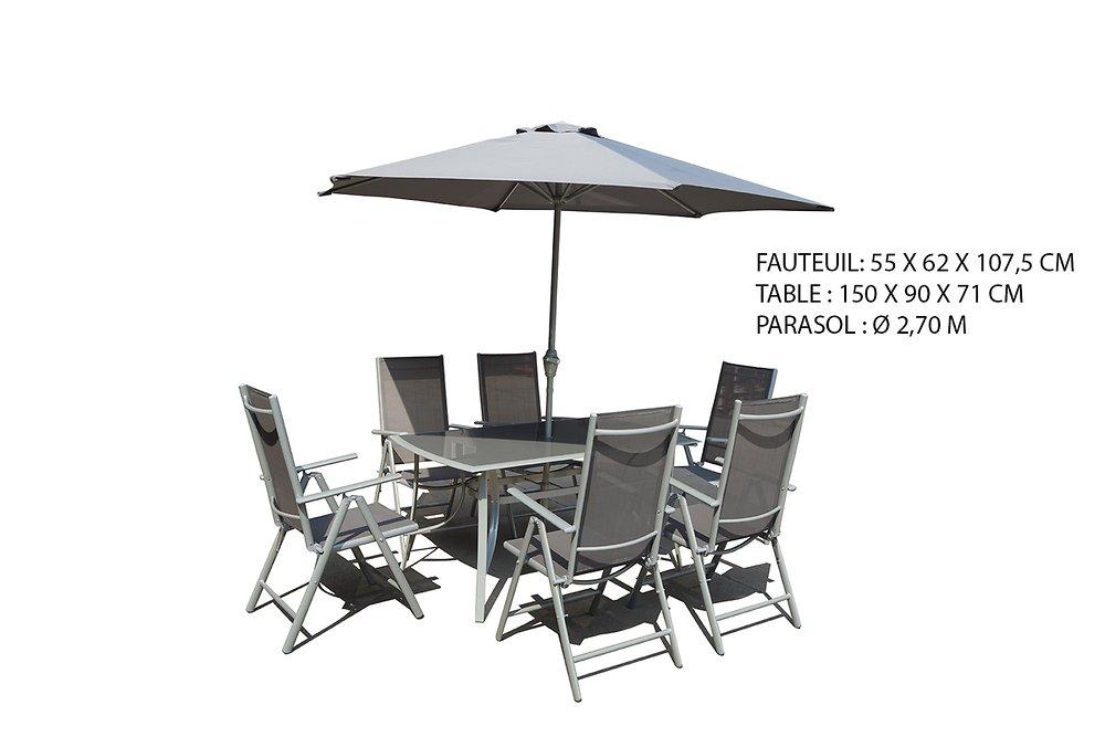 Salon de jardin 8 pièces silver Calas avec parasol