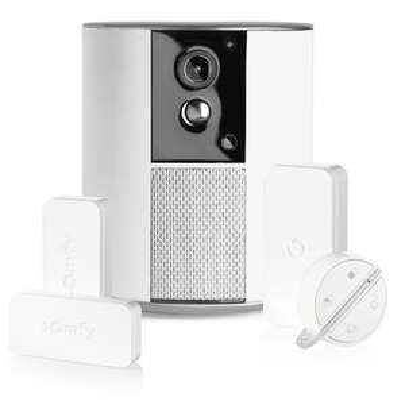 Alarme / Caméra de surveillance Somfy One+ avec 3 détecteurs de vibration et d'ouverture IntelliTAG et 1 badge