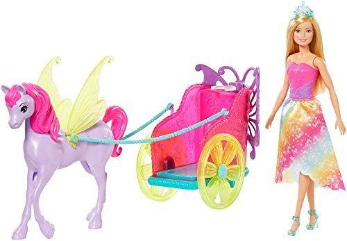 Coffret poupée Barbie Dreamtopia et sa calèche 2-en-1 tirée par un pégase
