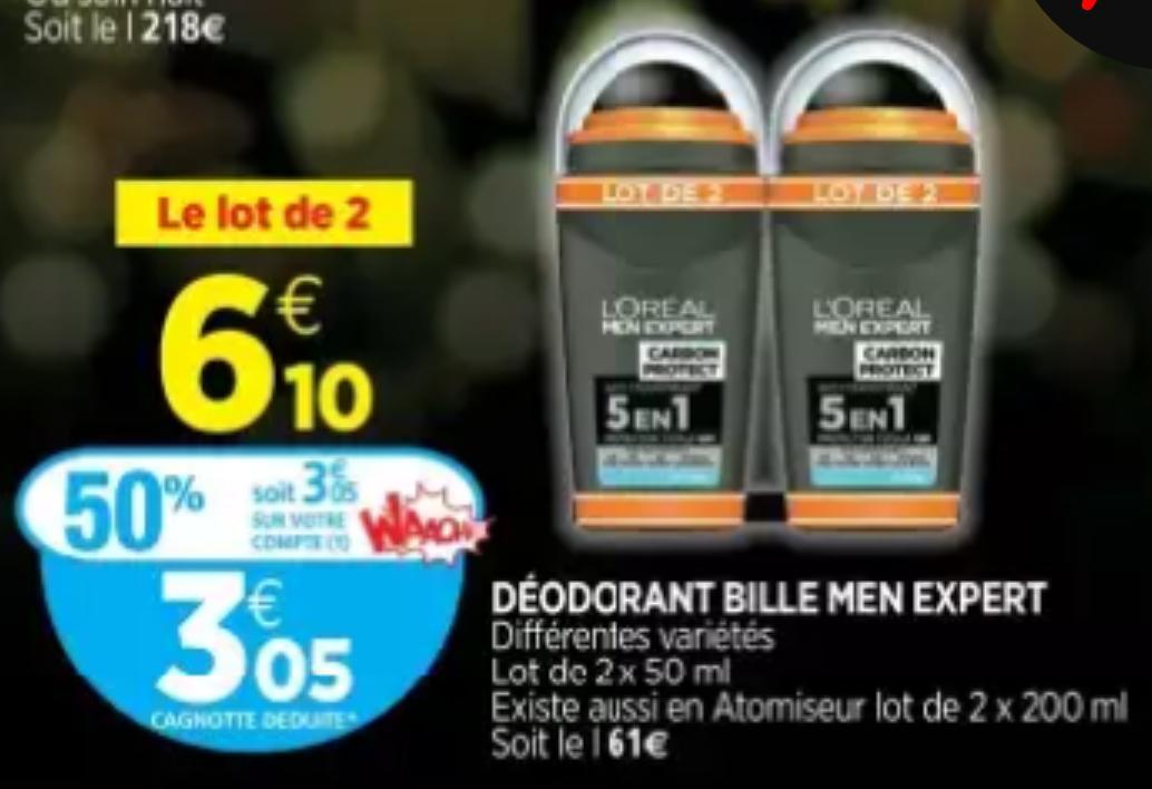 Lot de 2 déodorants Men Experts (via carte Waaoh)