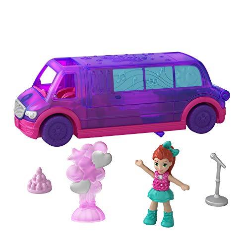 Jouet Polly Pocket Pollyville GGC41 Virée en Limousine, discothèque et jacuzzi, mini-figurine Lila, accessoires et autocollants