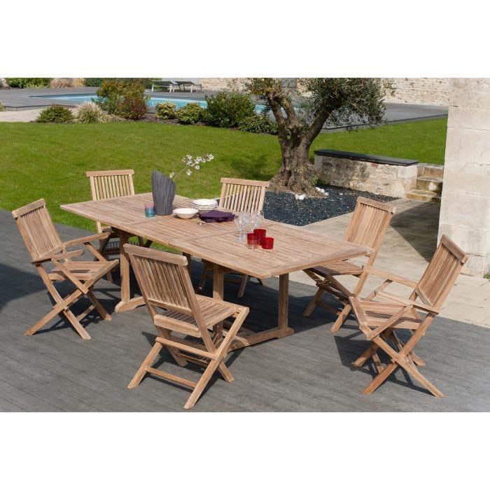 Salon de jardin massif Artigues bois teck - Table + 6 chaises
