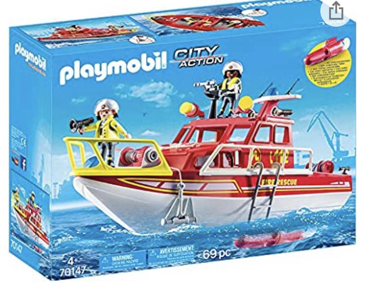 Jouet Playmobil City Action - Bateau de Sauvetage et Pompiers n°70147