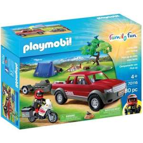 Jouet Playmobil Family Fun Pick-up et moto avec tente n°70116