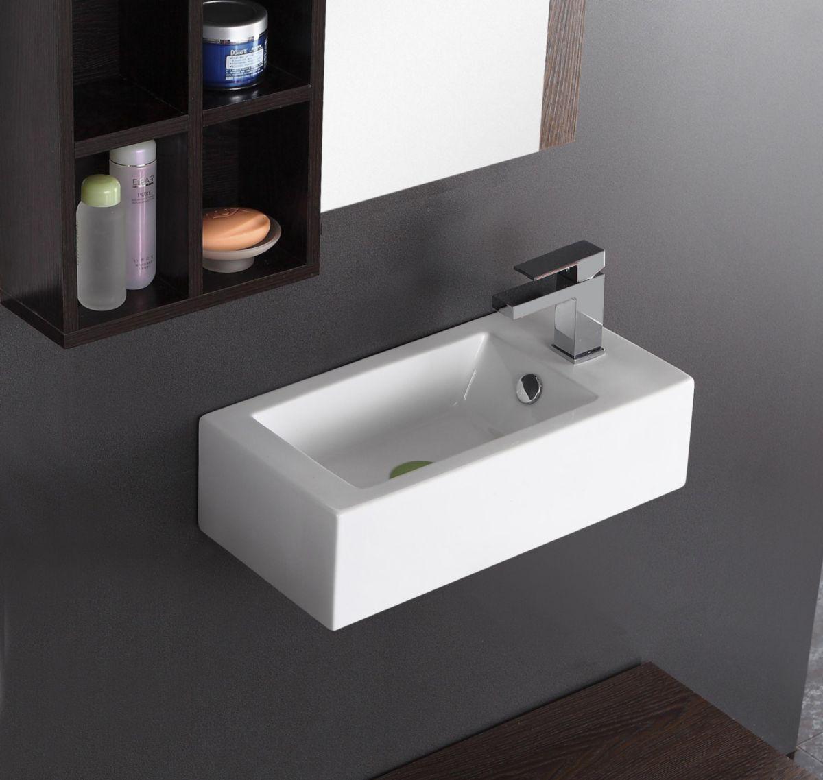 Lave mains Alterna Domino avec robinetterie à droite 50 x 25,5 cm (cedeo.fr)