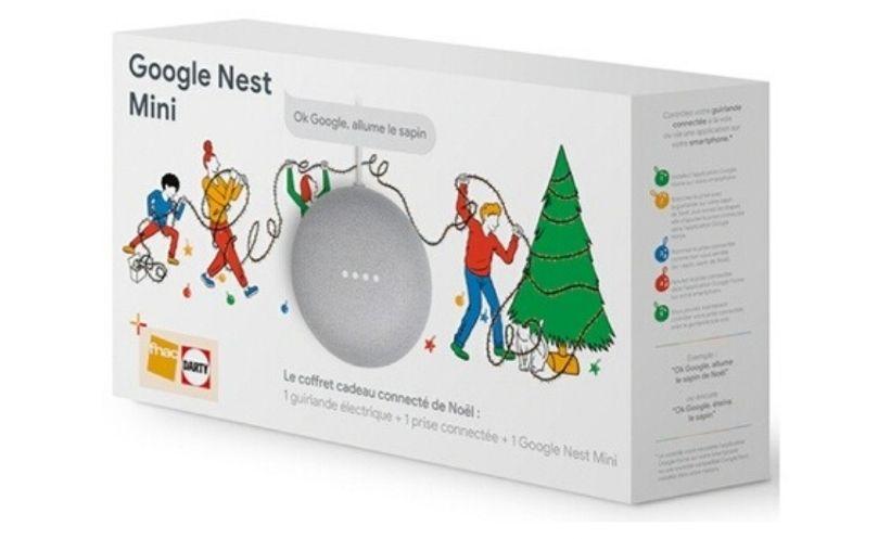 Coffret connecté de Noël : Google Nest Mini + 1 guirlande + 1 prise connectée (Retrait magasin)