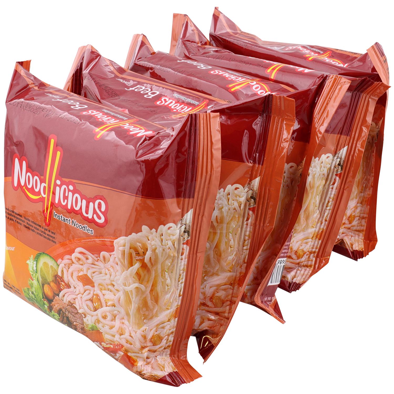 Lot de 5 sachets de nouilles instantanées Noodlicious (Bœuf ou Poulet)