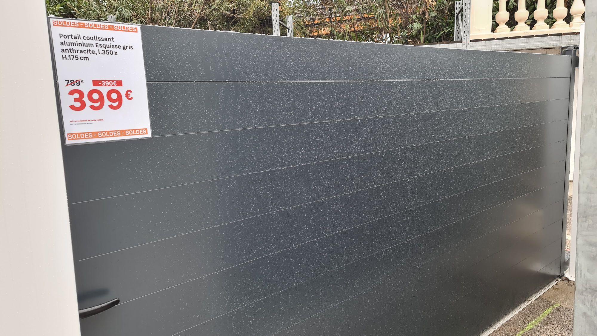 Portail coulissant aluminium (3.5m x 1.75, gris) - Nice (06)
