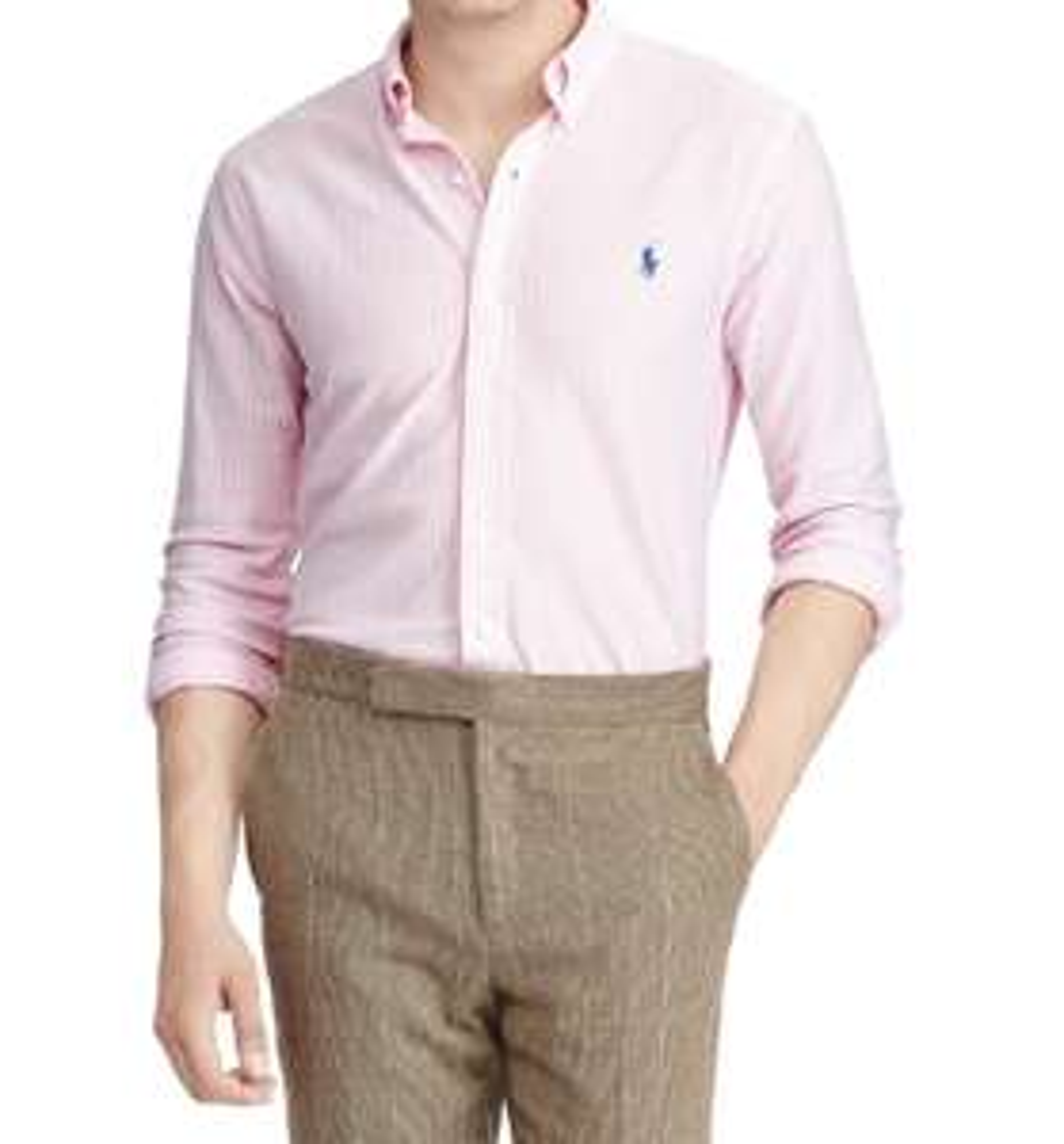 Chemise à rayures Ralph Lauren Slim Fit Polo - blanc/rose (tailles XL ou XXL)