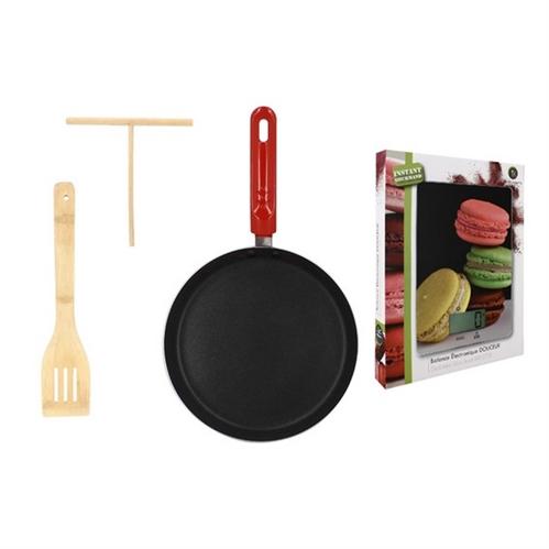 Lot Crêpière 28cm induction + Balance de cuisine + 2 accessoires en bois