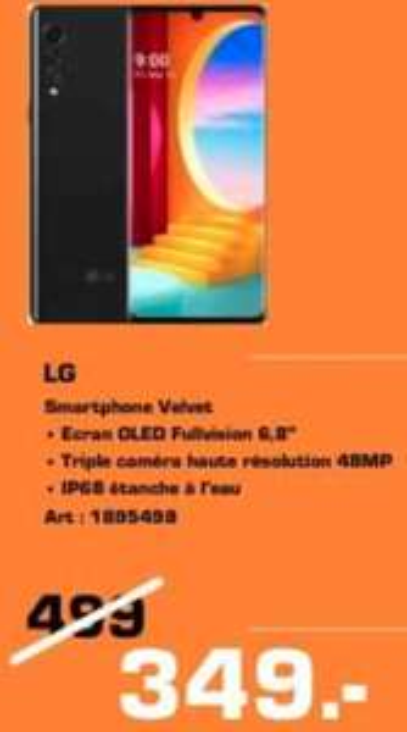 "Smartphone 6.8"" LG Velvet - Saturn (Frontaliers Luxembourg)"