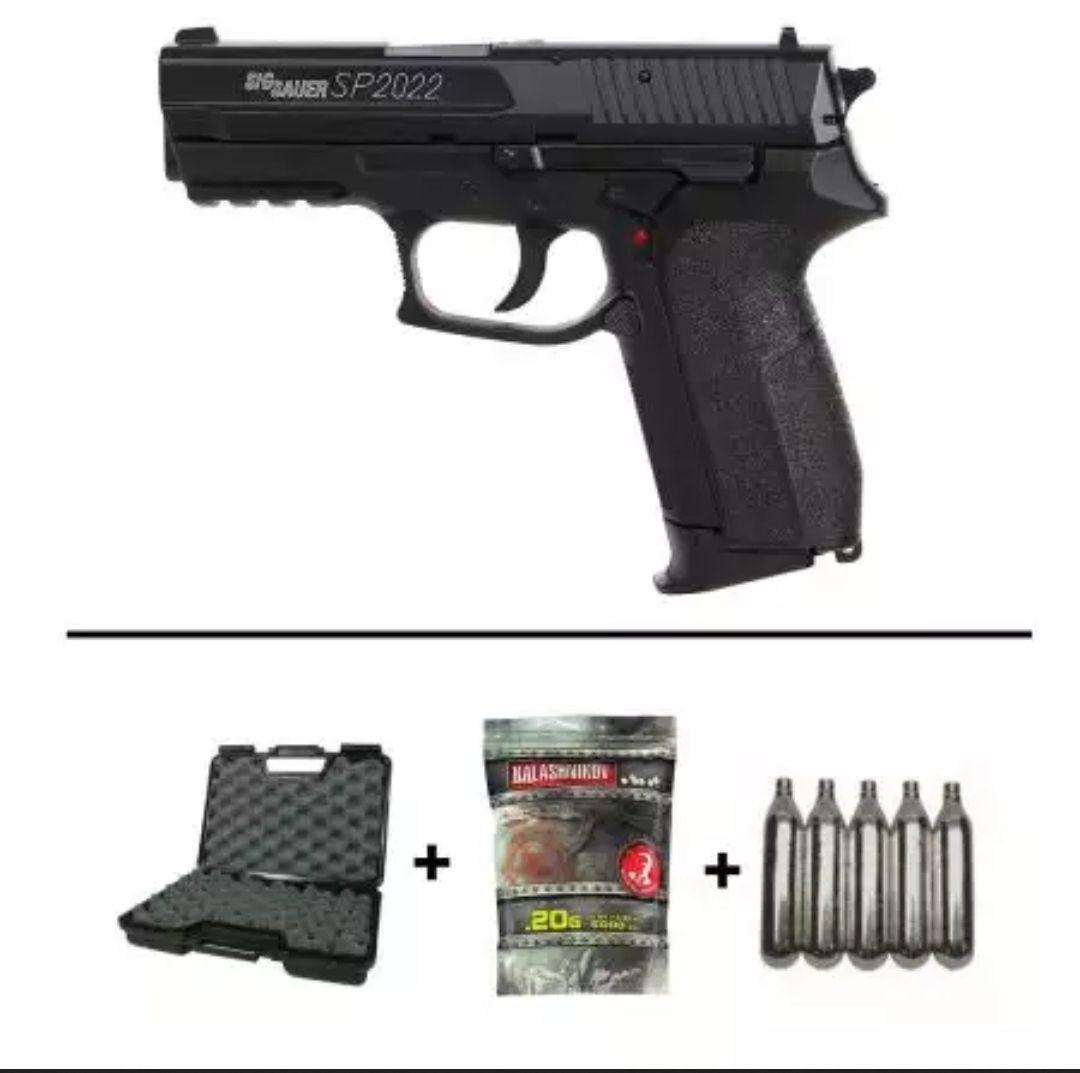 Pack Airsoft Réplique Pistolet Sig Sauer Sp2022 Co2 (280301) + 5 Cartouches Co2 + Mallette de Transport + 5000 Billes 0.20g