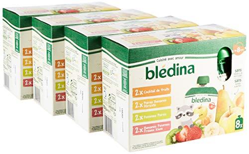 Pack de 32 Gourdes de purées de fruits bébé Blédina - dès 8 mois, 4 recettes Cocktail de Fruits