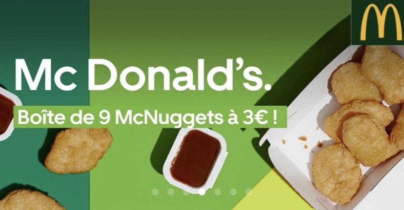 Boîte de 9 nuggets chez Mcdonald's Nantes Reze (44)
