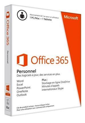 Logiciel Office 365 Personnel pour 1 poste PC ou Mac pendant 1 an