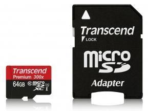 Carte microSDXC Transcend Premium 300x - 32 Go à 8,65€ et 64 Go