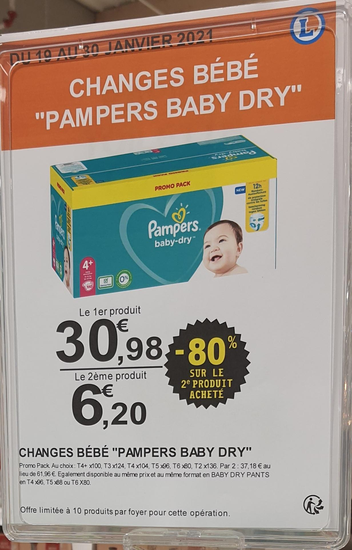Lot de 2 paquets de couches Pampers Baby-Dry Promo Pack (différentes quantités et tailles) - Saint-Orens-de-Gameville (31)