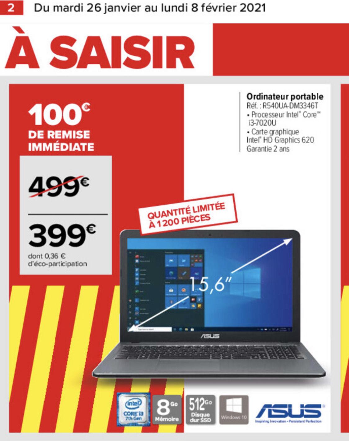 """PC portable 15.6"""" Asus R540UA-DM3346T - Full HD, i3-7020U, SSD 512Go, 4Go RAM"""
