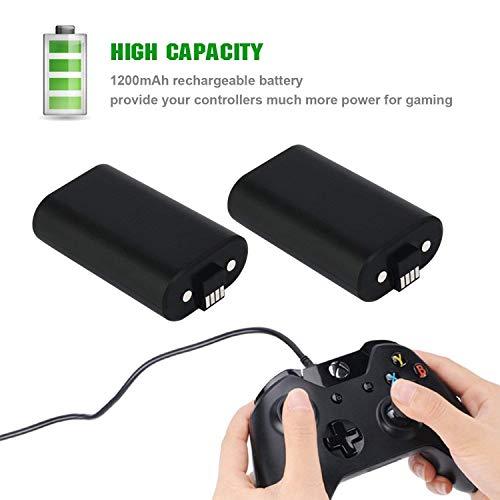 2 Batteries rechargeables pour Manette Xbox One ou Séries X/S - 1200 mAh + 2 Câbles de Charge (Vendeur Tiers)