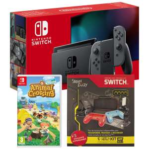 Pack Console Nintendo Switch Joy-Con Gris + Animal Crossing: New Horizons + Pack 9 Accessoires