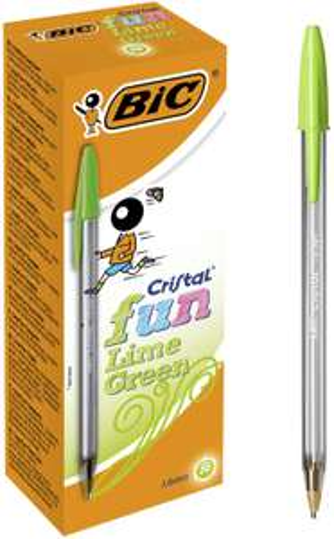 Boîte de 20 Stylos-Bille Pointe Large Bic Cristal Fun - Pointe large, Vert