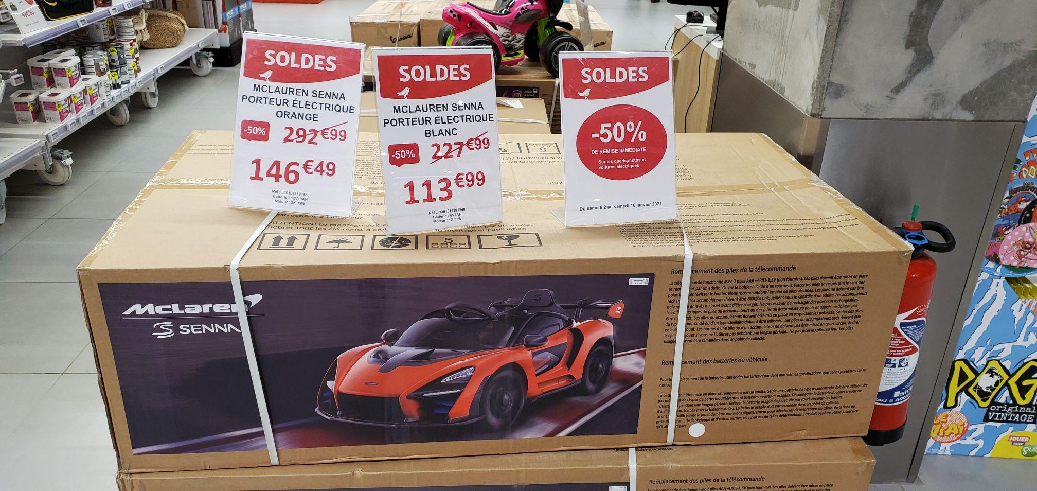 50% de remise sur les quads, motos et voitures électriques (Ex: McLaren Senna porteur électronique) - Cloche d'Or (Frontaliers Luxembourg)