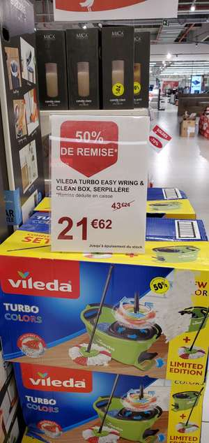 Serpillère Vileda Turbo Easy wring & Clean box - Édition limitée, Auchan Cloche d'or (Frontaliers Luxembourg)