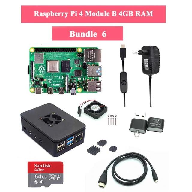 Bundle Raspberry Pi 4 4Go + Carte Mémoire 64 Go + Accessoires