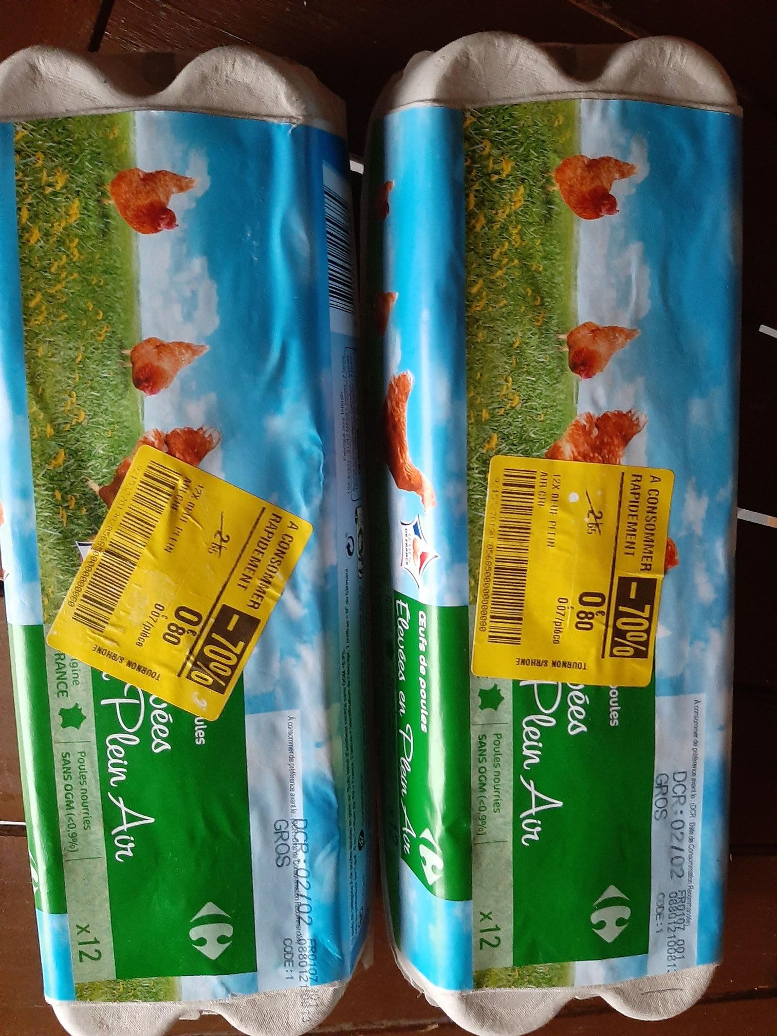 Paquet de 12 œufs de poules élevées en plein air Carrefour (DLC courte) - Tournon-sur-Rhône (07)