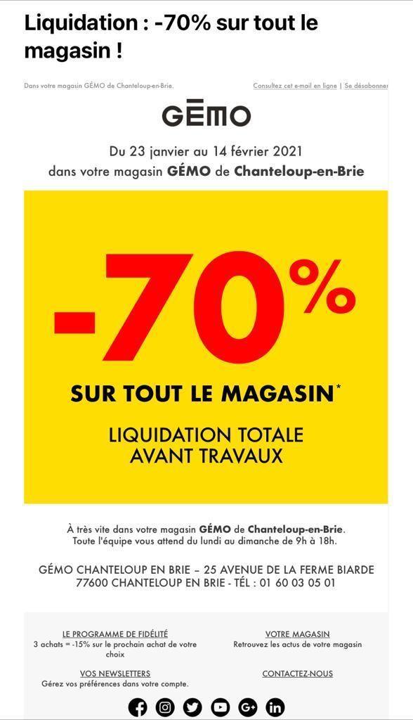 -70% sur tout le magasin (Hors exceptions) - Le Clos du Chêne (77)
