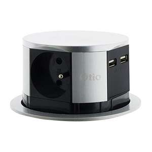 Bloc multiprise encastrable compact Otio - 3 prises 16A 2P+T + 2x USB