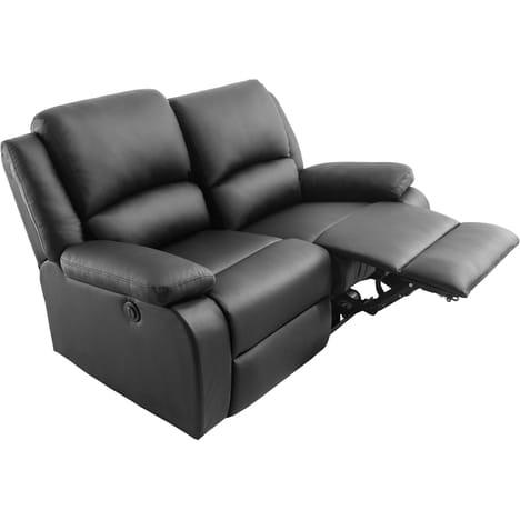 Canapé relax électrique 2 ou 3 places simili cuir HELENA- Noir