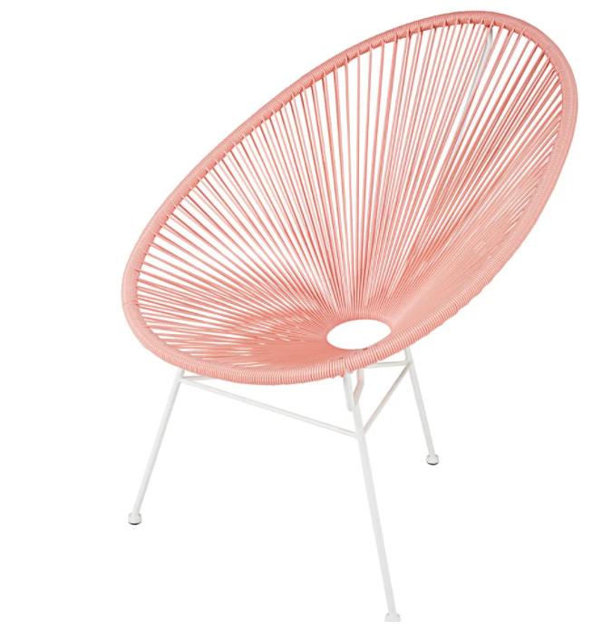 Jusqu'à -50% sur de nombreux meubles et décorations - Ex : Fauteuil de jardin rond rose poudré COPACABANA