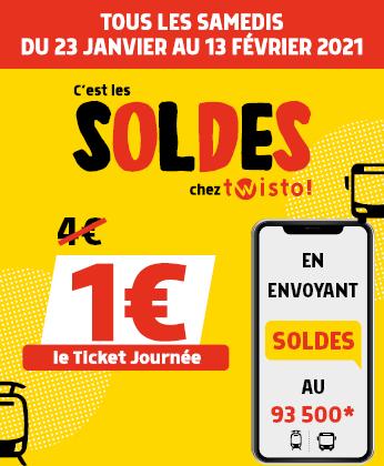 Ticket journée SMS à 1€ le samedi sur le réseau Twisto - Caen (14)