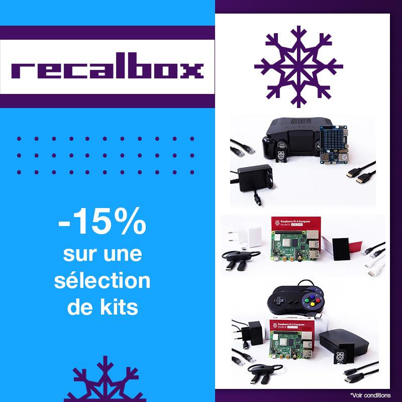 15% de remise sur une sélection de Kits Raspberry Pi 4 Recalbox - Ex : Kit Starter Pack Pi4 avec 2 manettes Recalbox