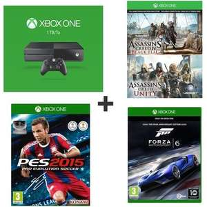 Console Microsoft Xbox One 1 To + Forza 6 + PES 2015 +Assassin's Creed Unity & Assassin's Creed Black Flag en Dématérialisé