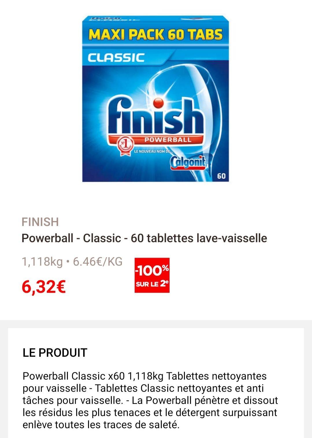 Paquet 60 tablettes lave vaisselle Finish chez géant casino