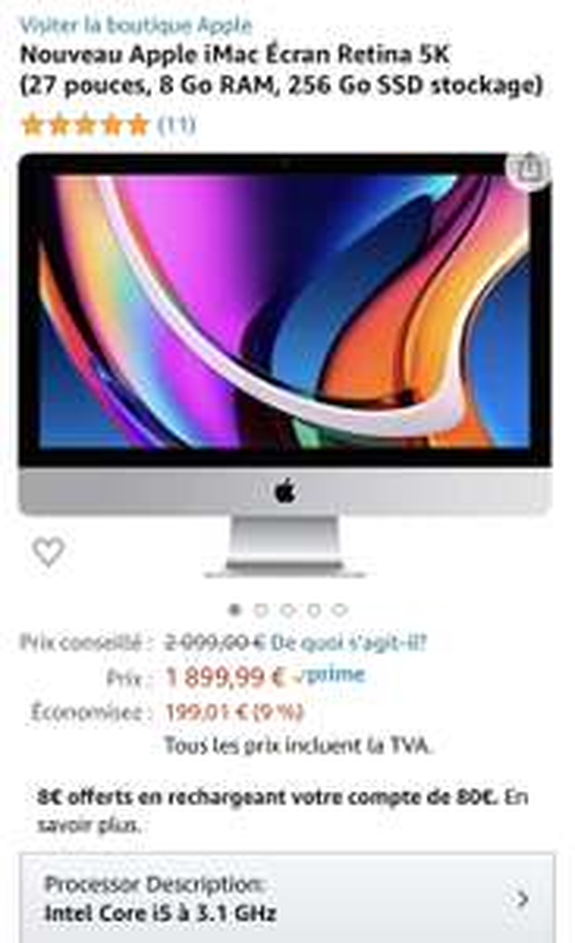 "PC AIO 27"" Apple iMac 2020 - Retina 5K, i5 10e Gen., 8 Go RAM, 256 Go SSD, Radeon Pro 5300XT"