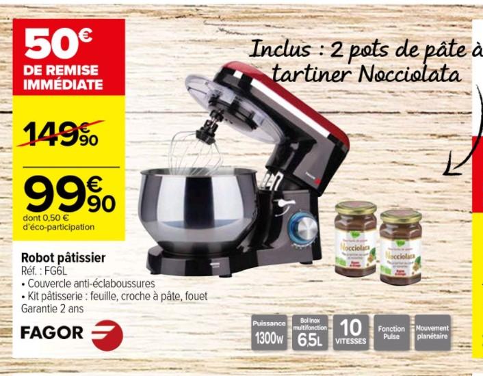 Robot pâtissier Fagor FG6L - 1300W, 6.5L, 10 vitesses