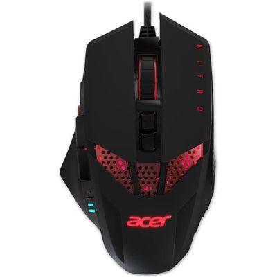 Souris filaire gamer Acer Nitro RGB - Rétroéclairage Rouge, 4000 dpi, 8 boutons, Noir