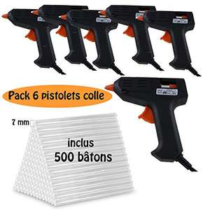 Lot de 6 pistolets colles + 500 bâtons de colle