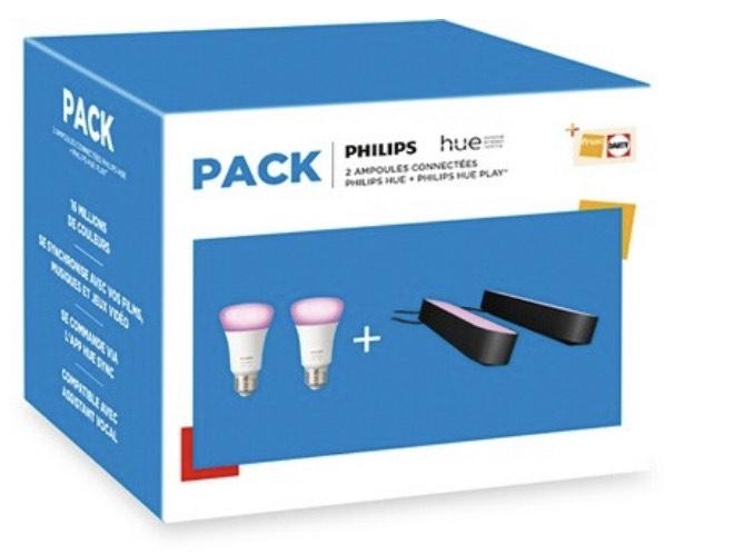 Kit Philips Hue : 2 Lampes connectées Hue Play + 2 Ampoules connectées