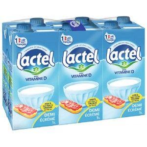 Lot de 2 packs de 6 briques de lait Lactel UHT demi-écrémé Vitamine D (12 x 1 L)