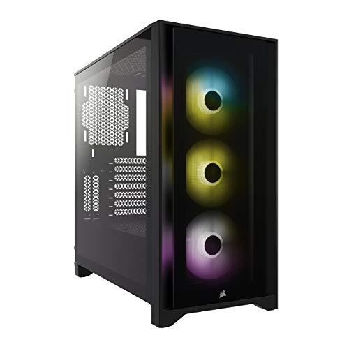 Boitier PC Corsair iCUE 4000X RGB - rois Ventilateurs RGB de 120 mm Inclus, ATX, Noir