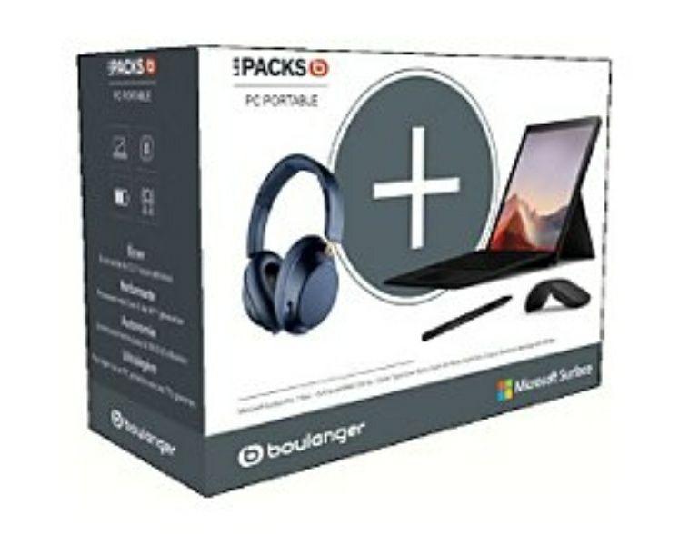 """Pack PC Portable 12,3"""" Surface Pro 7 (Intel Core i5, 8 Go de RAM, SSD 256Go) + Souris arc + Stylet Surface Pen + Casque Plantronics GO 810"""
