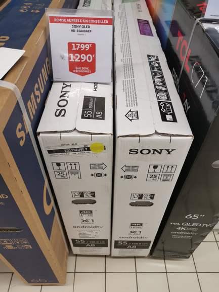 """Sélection de TV en promotion - Ex : TV OLED 55"""" Sony KD55A8 (4K UHD, Smart TV, 100 Hz) - Auchan Villeneuve D'Ascq V2 (59)"""