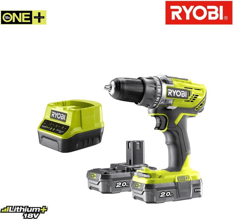 Pack perceuse-visseuse Ryobi R18DD3-220S (18V) - avec 2 batteries (2.0Ah) + chargeur & outil multi-fonction Ryobi OnePlus R18MT3-0 (via ODR)